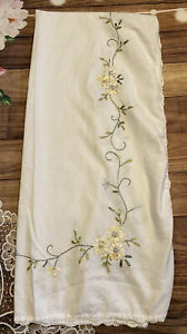 NICE COTTON WAFFLE WEAVE FABRIC SHOWER CURTAIN EMBROIDERED Flowers With Crochet