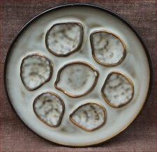 Vintage French Oyster Plate Nideverviller Gilt Enameled Stoneware 1970