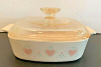 Corning Ware Forever Yours 1990-1994 Hearts A-1-B Casserole w/Pyrex Lid 1 Qt