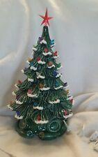 Ceramic Christmas Tree Vintage Mold. Made New Green with snow made in USA