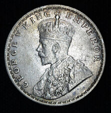 India 1 Rupee 1918 AU/UNC Silver British King George V Great Britian