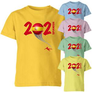 Spanish 2021 Football Kids T Shirt Boys Soccer Training Jersey Sports Tee Top