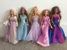 5 Princess Barbie Dolls - With Clothes, Dresses Bundle - 2 With Music / Sounds
