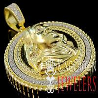 Mens Real Yellow Gold Silver $100 Bill Money Face Medallion Simu Diamond Pendant