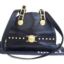 Authentic GIANNI VERSACE Logo Shoulder Bag Leather Black Gold-Tone 39ET207