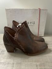 Bed Stu Carla Sz 6 Teak Brown Leather Zip Up Pointed Toe Booties Distressed NIB