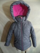 Hawke Hooded Coat  Gray 100% Poly Quilted Shell, Fill & Pink Lining Girl's 4 VGC