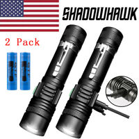 2 PACK 20000lm Shadowhawk USB Rechargeable Flashlight Portable CREE T6 LED Torch