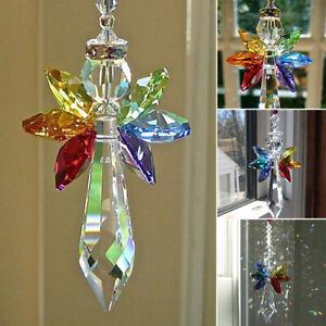 Rainbow Angel Crystal Suncatcher Colorful Pendant Hanging Decor for Car Home