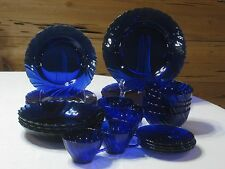 Vintage Duralex France Rivage Cobalt Blue  24 Pc. Set Service for 4