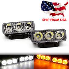 Car Daytime Running Light 2PACK 3 LED White DRL Amber Turn Signal Front Fog Lamp