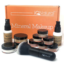 Full Natural Loose Minerals Makeup Cosmetics Kit Bare Flawless Brush Primer TAN