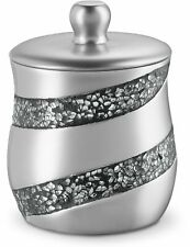 "Dwellza Silver Mosaic Q Tip Holder (3.8 x 3.8"" 4.9"") - Decorative Cotton Ball"