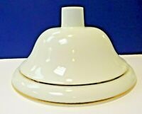 """White 15.5"""" Wide Torchiere Opal Gold Trim Replacement Glass Shade 81027A NEW"""