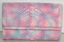 $1850 NEW Nancy Gonzalez PYTHON Bar LARGE CLUTCH Bag PALE Pink Purple Blue