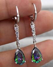 18K White Gold Filled - 1.5'' Waterdrop MYSTIC Topaz Gems Women Wedding Earrings