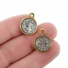 5 Religious Medal Charms, Gold Silver Relic Charm Pendants, Patron Saint chs3370