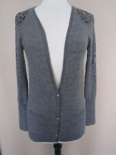 J.Crew Collection Alpaca Wool Gray Cardigan Sweater Beaded Shoulder & Sleeves S