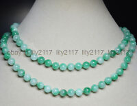 """Natural 8mm Multi-Color Green Jade Gemstone Round Beads Necklace 36"""" AAA"""