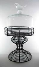 """Round Glass Dome Cloche Bird Top With Metal Wire Stand 12.5"""" Tall Pastry Stand"""