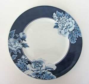 222 Fifth Alexandra BLUE Floral DINNER Plates SET of 4 NEW