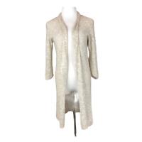 Eileen Fisher Size M Beige Open Knit Cardigan Duster Open-Front Linen Blend