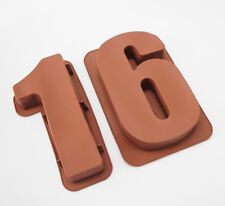 """LARGE 12"""" SILICONE NUMBER MOULDS 16 CAKE TINS BAKING PAN BIRTHDAY 16th MOLD"""