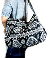 New Boho Hippie Medium Black/White Fabric Cross Body Shoulder Handbag Adjustable