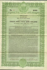 Forest Park State Bank > 1927 Illinois Albert Roos $1,000 gold bond certificate