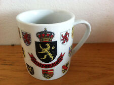 "Belgiqe Belgie Belgium Coffee Mug  Coat of Arms  Map of Europe on Back  3 1/2"""