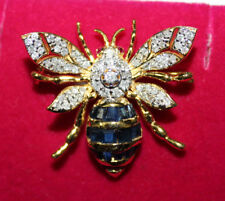 0.78ct ROUND DIAMOND SAPPHIRE RUBY GEMSTONE 14K YELLOW GOLD BUTTERFLY BROOCH