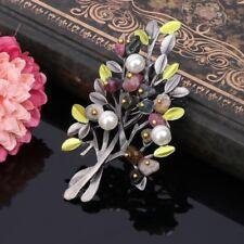 Women Vintage Natural Stone Brooch Retro Tree Imitation Pearl Pin Brooches new