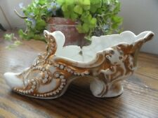 """Antique Porcelain SHOE BOOT Slipper White Gold VERY OLD Porcelain """"As Is"""""""