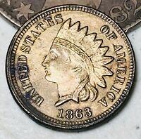 1863 CN Indian Head Cent Penny 1C High Grade FULL LIBERTY War Era US Coin CC4387
