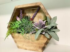Faux Floral Arrangement, Succulent Decor, Wooden Wall Planter, Wall Flower
