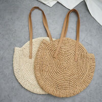 Women Bag Round Circular Rattan Wicker Straw Woven Crossbody Beach Bag Basket