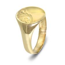 9ct Oro Amarillo Hombre OVALADO SELLO - Boda Anillo Tamaño T (00558)