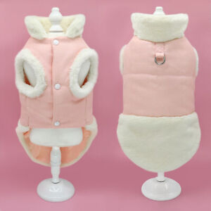 Warm Fleece Dog Cat Coat Small Dogs Jacket Clothes Soft Walk Vest Harness Pink