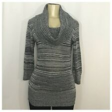 Black & White Turtleneck Sweater W Silver Stripes Medium