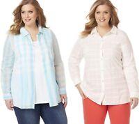 Womens Plus Size 22/24 26/28 2X 3X COTTON Long Sleeve Button Down Shirt Top