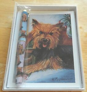 Ruth Maystead Note Cards and Pen- YORKIE  dog- 6 note cards w/envelopes