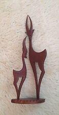 Vintage 1950's Retro Teak Figurine Of A Pair Of Deer. 17'' Tall