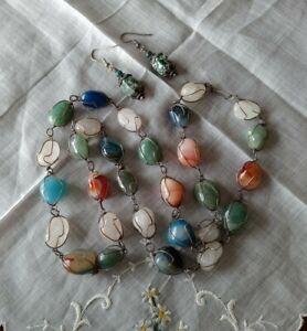 Vintage Agate& Quartz Wired Stone Necklace W/Jasper Earrings: Healing Properties