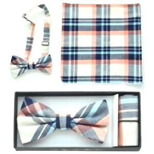 Pre Tied Bow Tie Pocket Black White Pink Blue Hankie Handkerchief Plaid Checkers
