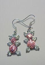 Dangle earrings - pink + clear glass stone set bears