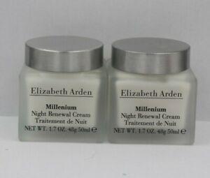 ELIZABETH ARDEN MILLENIUM  NIGHT RENEWAL CREAM  1.7 OZ/50ML  NWOB LOT OF 2