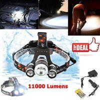 11000LM XML T6 LED Boruit Headlamp Head Light Torch 18650 Battery Car Charger MY