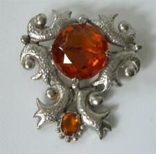 Vintage 30s Authentics Inc Silver Brooch Pin Amber Glass Stones Baroque Rococo