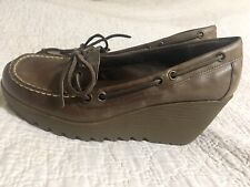 Womens Vintage Bass Leather Wedge Heel Lace Up Loafers Size 9 M Brown