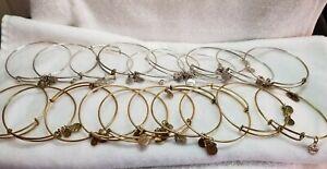 "Alex & Ani Charm , Silver Gold Bangle, only  Bracelets lot of 20 ""As Is"". Lot 3"
